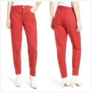 Rag&Bone Ash High Rise Straight Jeans in Bull Red